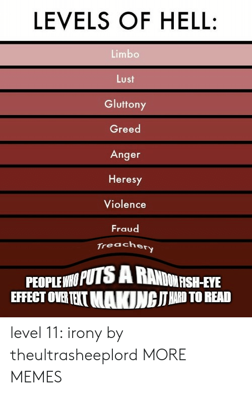 Dank, Memes, and Target: LEVELS OF HELL  Limbo  Lust  Gluttony  Greed  Anger  Heresy  Violence  Fraud  Treacher  PEOPLE NPUTS SH-FE  EFFECT OVERTEIT MAKINGITRD TO READ  DONRSH-EYE level 11: irony by theultrasheeplord MORE MEMES
