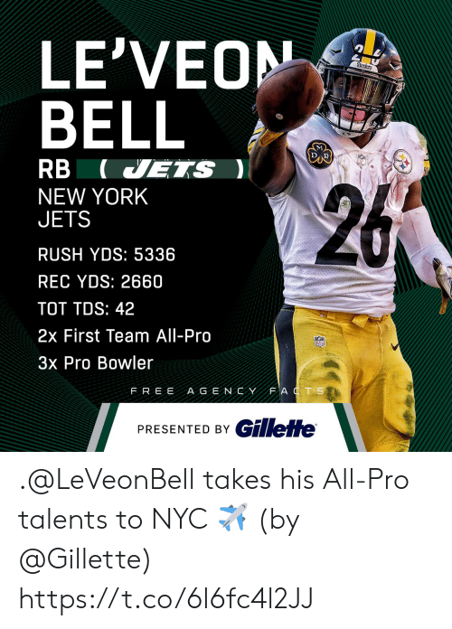 New York Jets: LE'VEON  BELL  RB (VETS  NEW YORK  JETS  RUSH YDS: 5336  REC YDS: 2660  TOT TDS: 42  2x First Team All-Pro  3x Pro Bowler  FREE A G E NCYFAT S  PRESENTED BY C .@LeVeonBell takes his All-Pro talents to NYC ✈️  (by @Gillette) https://t.co/6l6fc4l2JJ