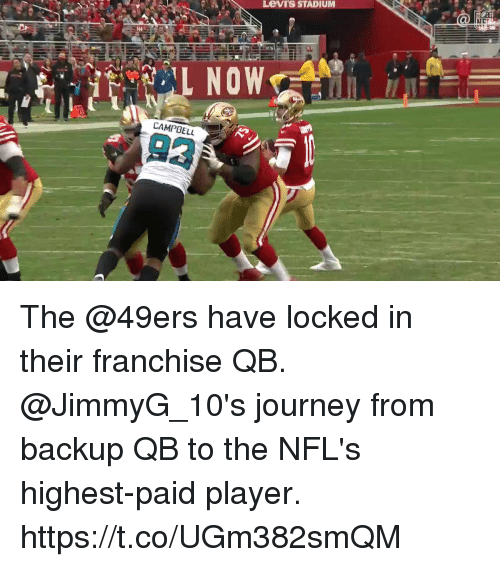 Levis: Levi's STADIUM  L NOW  CAMPBELL  93 The @49ers have locked in their franchise QB.  @JimmyG_10's journey from backup QB to the NFL's highest-paid player. https://t.co/UGm382smQM