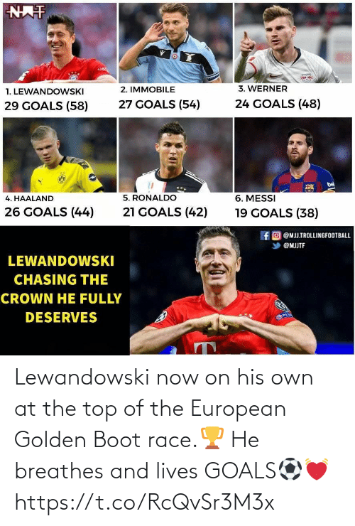 goals: Lewandowski now on his own at the top of the European Golden Boot race.🏆 He breathes and lives GOALS⚽💓 https://t.co/RcQvSr3M3x