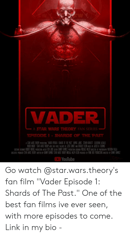 """episode 1: li  VADER  A STAR WARS THEORY FAN SERIES  EPSODEI- SHARDS OF THE PAT  困YouTube Go watch @star.wars.theory's fan film """"Vader Episode 1: Shards of The Past."""" One of the best fan films ive ever seen, with more episodes to come. Link in my bio -"""