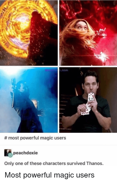 Magic, Powerful, and Only One: Liam  # most powerful magic users  peachdoxie  Only one of these characters survived Thanos. Most powerful magic users