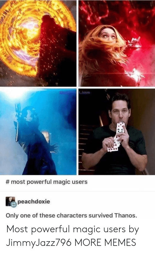 Dank, Memes, and Target: Liam  # most powerful magic users  peachdoxie  Only one of these characters survived Thanos. Most powerful magic users by JimmyJazz796 MORE MEMES