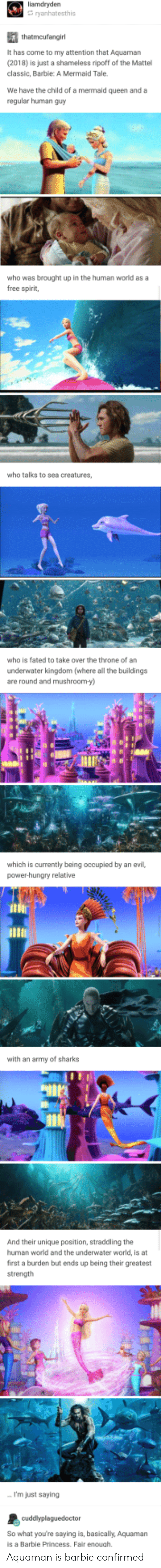 Im Just Saying: liamdrydern  It has come to my attention that Aquaman  (2018) is just a shameless ripoff of the Mattel  classic, Barbie: A Mermaid Tale  We have the child of a mermaid queen and a  regular human guy  who was brought up in the human world as a  free spirit,  who talks to sea creatures,  who is fated to take over the throne of an  underwater kingdom (where al the buildings  are round and mushroom-y)  which is currently being occupied by an evil,  power-hungry relative  with an army of sharks  And their unique position, straddling the  human world and the underwater world, is at  first a burden but ends up being their greatest  strength  I'm just saying  So what youre saying is, basically, Aquaman  s a Barbie Princess. Fair enough. Aquaman is barbie confirmed
