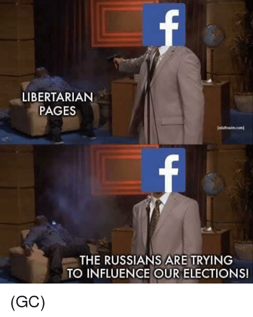 Memes, Libertarian, and 🤖: LIBERTARIAN  PAGES  THE RUSSIANS ARE TRYING  TO INFLUENCE OUR ELECTIONS! (GC)