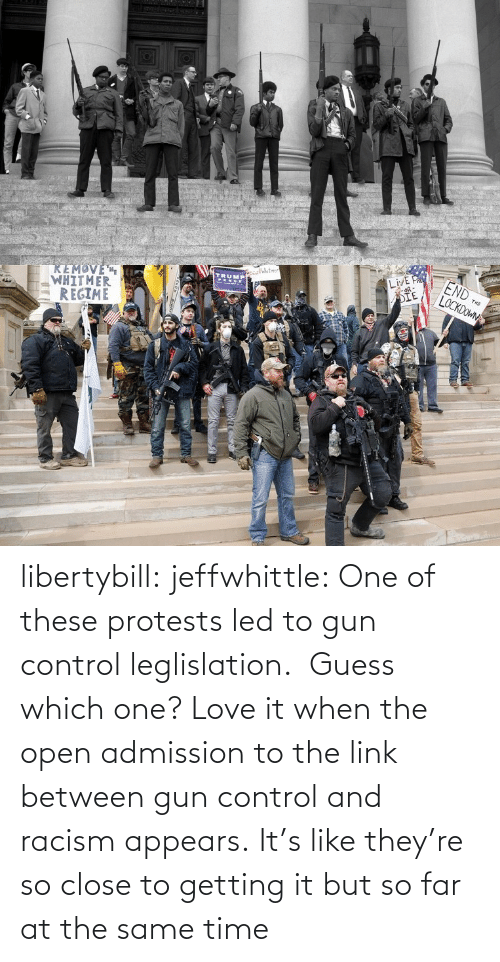 Far: libertybill:  jeffwhittle:  One of these protests led to gun control leglislation.  Guess which one?   Love it when the open admission to the link between gun control and racism appears.   It's like they're so close to getting it but so far at the same time