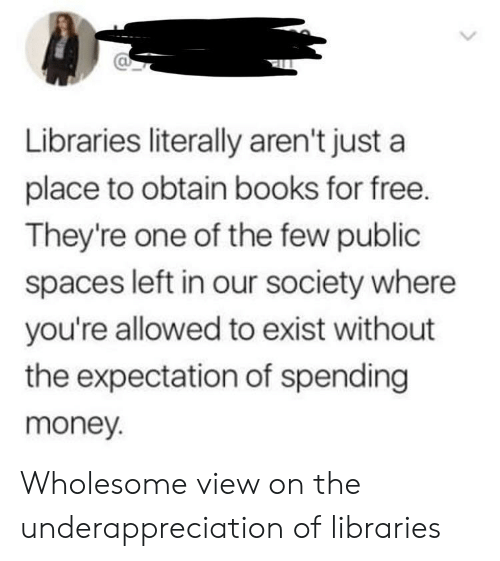 obtain: Libraries literally aren't just a  place to obtain books for free.  They're one of the few public  spaces left in our society where  you're allowed to exist without  the expectation of spending  money. Wholesome view on the underappreciation of libraries