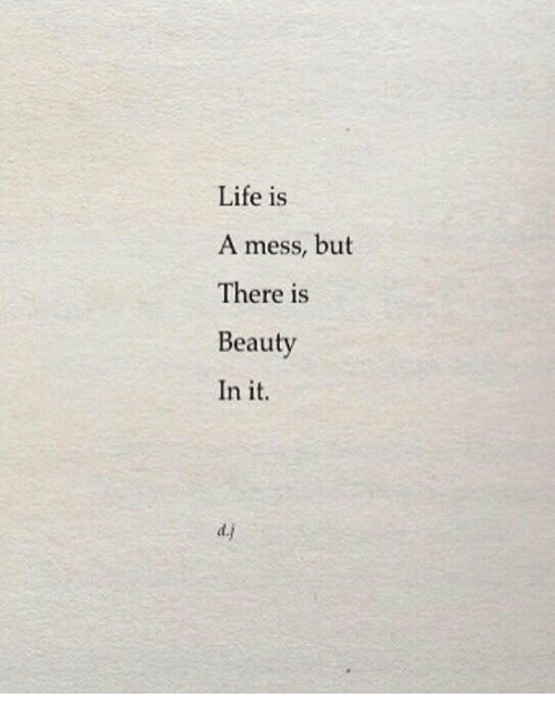 life is a mess: Life is  A mess, but  There is  Beauty  In it.  d.j