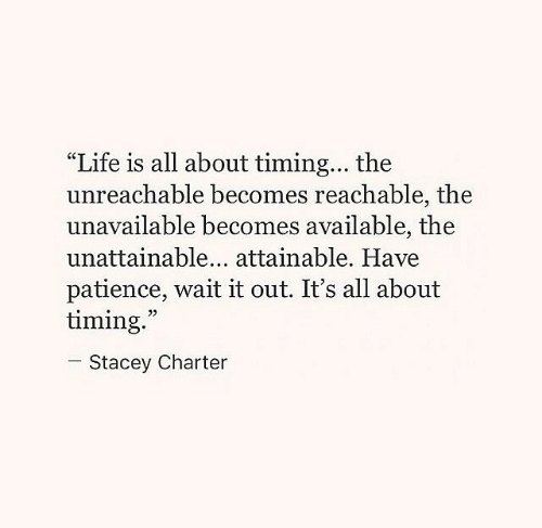 "Patience: ""Life is all about timing... the  unreachable becomes reachable, the  unavailable becomes available, the  unattainable... attainable. Have  patience, wait it out. It's all about  timing.  05  Stacey Charter"