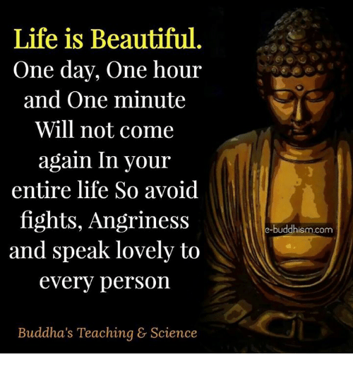 Life Is Beautiful: Life is Beautiful  One day, one hour  and One minute  Will not come  again In your  entire life So avoid  fights, Angriness  and speak lovely to  every person  Buddha's Teaching & Science  e-buddhism.com