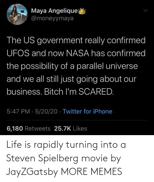 Life Is: Life is rapidly turning into a Steven Spielberg movie by JayZGatsby MORE MEMES