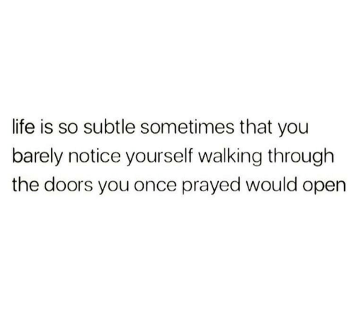 subtle: life is so subtle sometimes that you  barely notice yourself walking through  the doors you once prayed would open