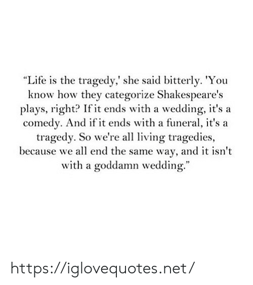 """Life, Wedding, and Comedy: """"Life is the tragedy,' she said bitterly. 'You  know how they categorize Shakespeare's  plays, right? If it ends with a wedding, it's a  comedy. And if it ends with a funeral, it's a  tragedy. So we're al ving tragedies  because we all end the same way, and it isn't  with a goddamn wedding."""" https://iglovequotes.net/"""