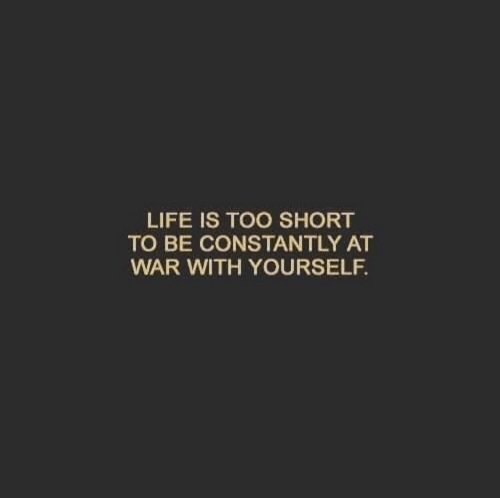 life is too short: LIFE IS TOO SHORT  TO BE CONSTANTLY AT  WAR WITH YOURSELF.