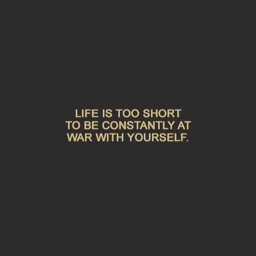 life is too short: LIFE IS TOO SHORT  TO BE CONSTANTLY AT  WAR WITH YOURSELF