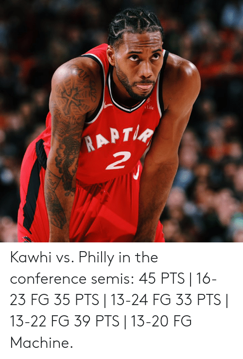 philly: Life Kawhi vs. Philly in the conference semis:  45 PTS | 16-23 FG 35 PTS | 13-24 FG 33 PTS | 13-22 FG 39 PTS | 13-20 FG  Machine.