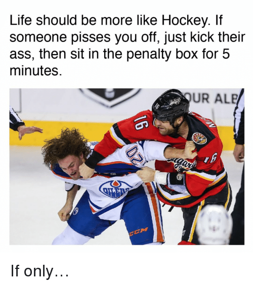 Kick Their Asses: Life should be more like Hockey. If  Someone pisses you off, just kick their  ass, then sit in the penalty box for 5  minutes.  UR ALB If only…