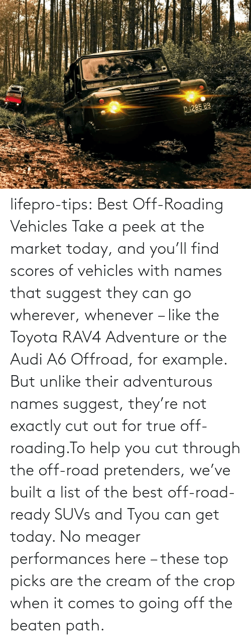 tips: lifepro-tips: Best Off-Roading Vehicles Take a peek at the market today, and you'll find scores of vehicles with names that suggest they can go wherever, whenever – like the Toyota RAV4 Adventure or the Audi A6 Offroad, for example. But unlike their adventurous names suggest, they're not exactly cut out for true off-roading.To help you cut through the off-road pretenders, we've built a list of the best off-road-ready SUVs and Tyou can get today. No meager performances here – these top picks are the cream of the crop when it comes to going off the beaten path.