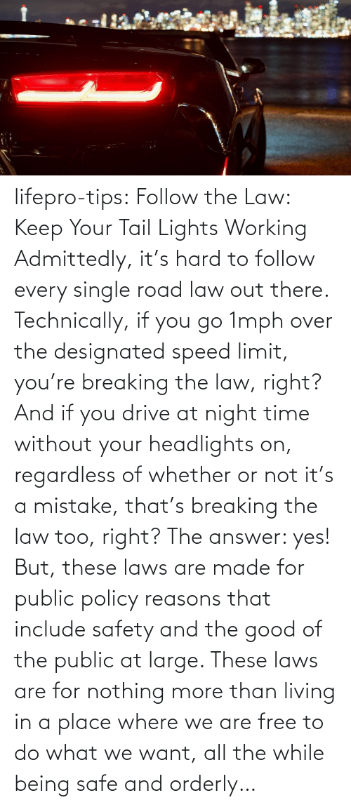 policy: lifepro-tips: Follow the Law: Keep Your Tail Lights Working Admittedly, it's hard to follow every single road law out there. Technically, if you go 1mph over the designated speed limit, you're breaking the law, right? And if you drive at night time without your headlights on, regardless of whether or not it's a mistake, that's breaking the law too, right? The answer: yes! But, these laws are made for public policy reasons that include safety and the good of the public at large. These laws are for nothing more than living in a place where we are free to do what we want, all the while being safe and orderly…