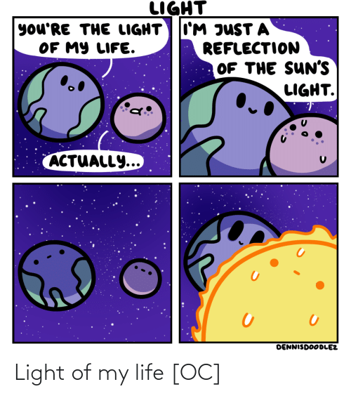 suns: LIGHT  I'M JUST A  REFLECTION  OF THE SUN'S  LIGHT.  you'RE THE LIGHT  OF MY LIFE.  ACTUALLY...  DENNISDOODLEZ Light of my life [OC]
