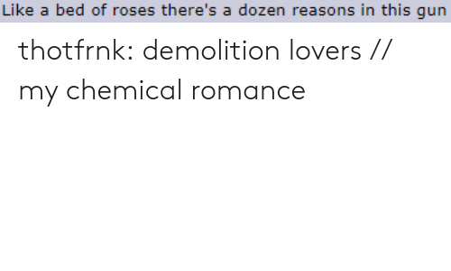 Tumblr, Blog, and My Chemical Romance: Like a bed of roses there's a dozen reasons in this qun thotfrnk:  demolition lovers // my chemical romance