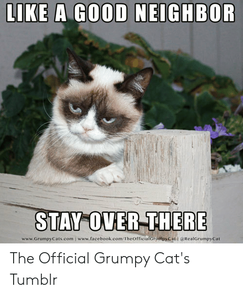 Official Grumpy: LIKE A GOOD NEIGHBOR  STAY OVER THERE  www.GrumpyCats.com www.facebook.com/TheofficialGrompyCat @RealGrumpyCat The Official Grumpy Cat's Tumblr