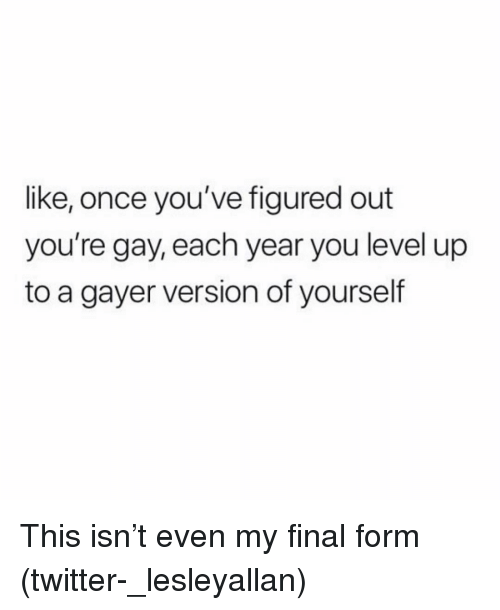 youre gay: like, once you've figured out  you're gay, each year you level up  to a gayer version of yourself This isn't even my final form (twitter-_lesleyallan)