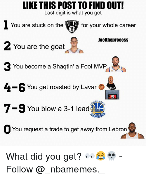 3 1 Lead: LIKE THIS POST TO FIND OUT!  Last digit is what you get  1 You are stuck on the▼  2 You are the goat  NETS  for your whole career  Joeltheprocess  You become a Shaqtin' a Fool MVP  4-6 You get roasted by Lavar .  7-9 You blow a 3-1 lead  ARR  O You request a trade to get away from Lebron What did you get? 👀😂💀 - Follow @_nbamemes._