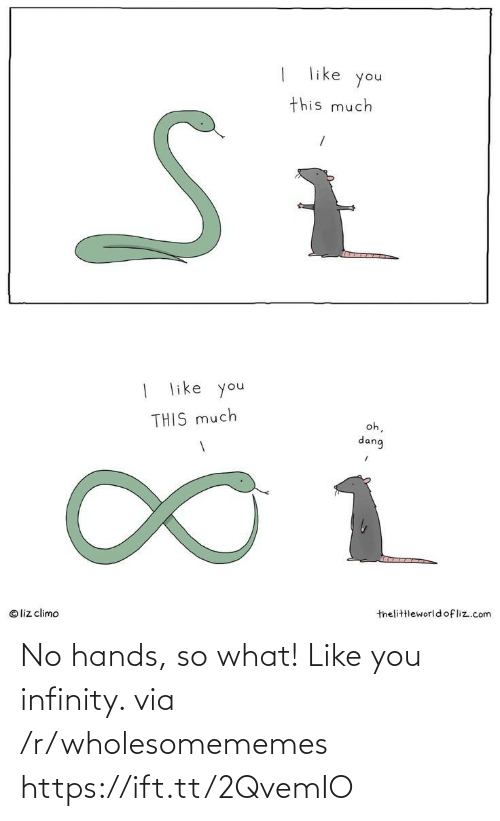 R Wholesomememes: like  you  this much  | like you  oh,  THIS much  dang  1.  thelittleworld ofliz.com  © liz climo No hands, so what! Like you infinity. via /r/wholesomememes https://ift.tt/2QvemIO