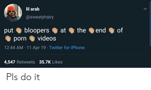 Iphone, Twitter, and Videos: lil arab  @sweatyhairy  bloopers  videos  the  of  end  at  put  porn  12:44 AM 11 Apr 19 Twitter for iPhone  4,547 Retweets 35.7K Likes Pls do it
