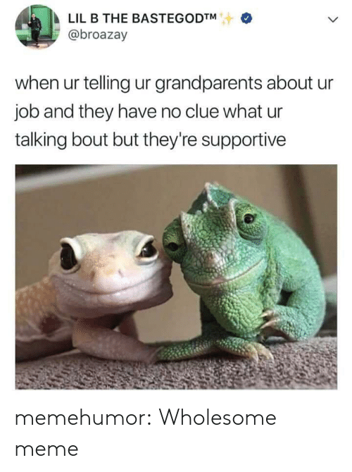 Lil B: LIL B THE BASTEGODTM  @broazay  when ur telling ur grandparents about u  job and they have no clue what ur  talking bout but they're supportive memehumor:  Wholesome meme