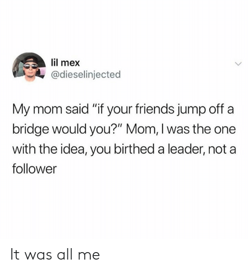 """Dank, Friends, and All Me: lil mex  @dieselinjected  My mom said """"if your friends jump off a  bridge would you?"""" Mom, I was the one  with the idea, you birthed a leader, not a  follower It was all me"""