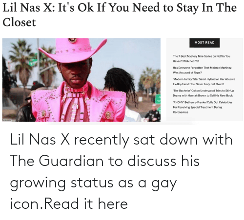 Its Ok: Lil Nas X recently sat down with The Guardian to discuss his growing status as a gay icon.Read it here