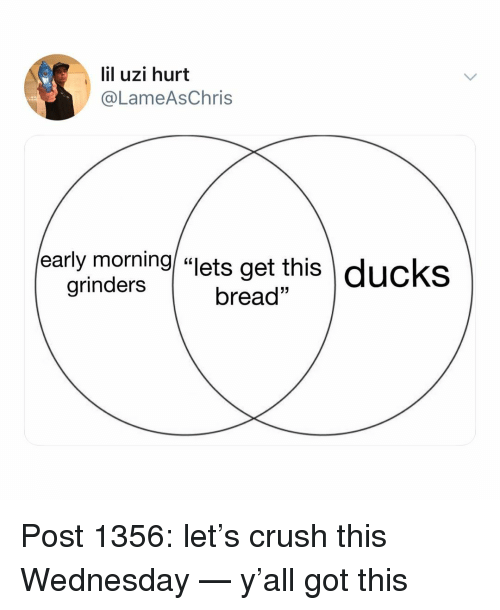 """Crush, Memes, and Ducks: lil uzi hurt  @LameAsChris  early morning/ """"lets get this  \ ducks  grinders  bread"""" Post 1356: let's crush this Wednesday — y'all got this"""
