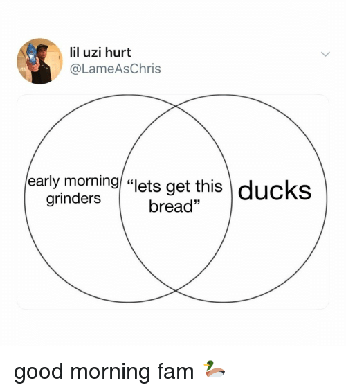 """Fam, Good Morning, and Ducks: lil uzi hurt  @LameAsChris  early morning """"lets get this ducks  bread""""  grinders good morning fam 🦆"""