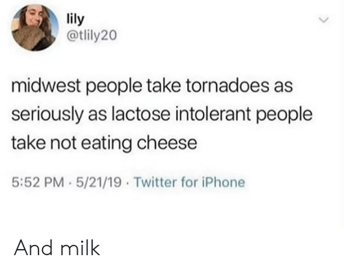 Lactose Intolerant: lily  @tlily20  midwest people take tornadoes as  seriously as lactose intolerant people  take not eating cheese  5:52 PM 5/21/19 Twitter for iPhone And milk
