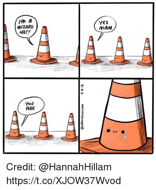 Memes, 🤖, and Yes: lin A  WIZARD  HAT!  YES  MAN  You  ARE Credit: @HannahHillam https://t.co/XJOW37Wvod