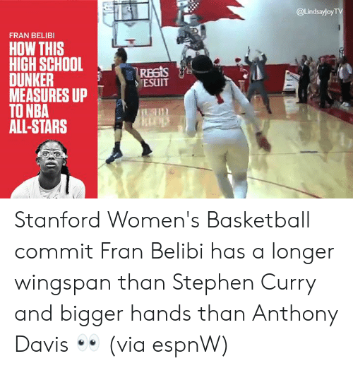 nba all stars: @Lindsayloy  FRAN BELIBI  HOW THIS  HIGH SCHOOL  -|Reas  DUNKER  MEASURES UP  TO NBA  ALL-STARS  TESUIT Stanford Women's Basketball commit Fran Belibi has a longer wingspan than Stephen Curry and bigger hands than Anthony Davis  👀  (via espnW)