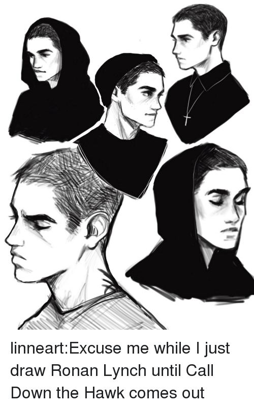Target, Tumblr, and Blog: linneart:Excuse me while I just draw Ronan Lynchuntil Call Down the Hawk comes out