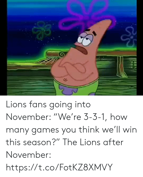 "Lions: Lions fans going into November: ""We're 3-3-1, how many games you think we'll win this season?""  The Lions after November: https://t.co/FotKZ8XMVY"
