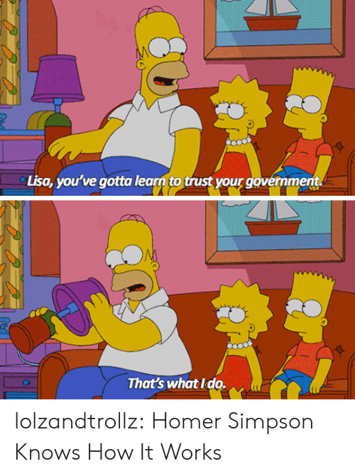 Homer Simpson: Lisa, you've gotta learn to trust your government.  That's what Ido. lolzandtrollz:  Homer Simpson Knows How It Works