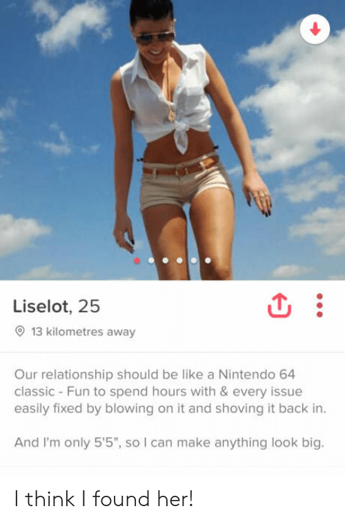 "Foundly: Liselot, 25  13 kilometres away  Our relationship should be like a Nintendo 64  classic - Fun to spend hours with & every issue  easily fixed by blowing on it and shoving it back in  And I'm only 5'5"", so I can make anything look big. I think I found her!"