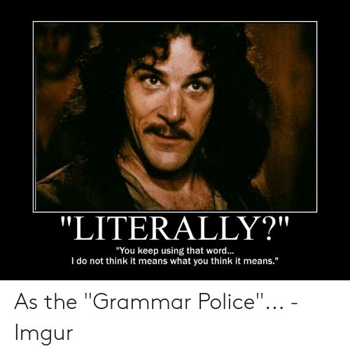 """Grammar Police Meme: """"LITERALLY?""""  """"You keep using that word...  I do not think it means what you think it means."""""""