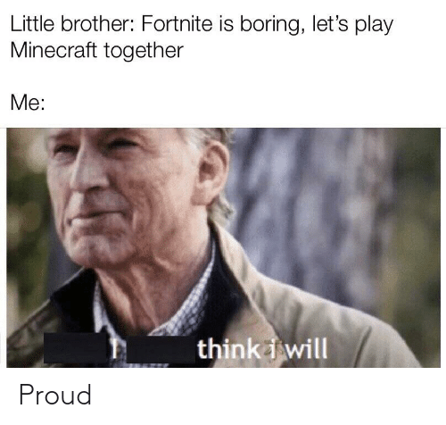lets play: Little brother: Fortnite is boring, let's play  Minecraft together  Me:  thinkwill Proud