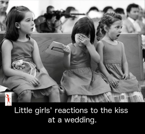 Girls, Memes, and Kiss: Little girls' reactions to the kiss  at a wedding.