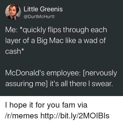 A Big Mac: Little Greenis  @DurtMcHurtt  Me: *quickly flips through each  layer of a Big Mac like a wad of  Cash*  McDonald's employee: [nervously  assuring me] it's all there I swear. I hope it for you fam via /r/memes http://bit.ly/2MOIBIs