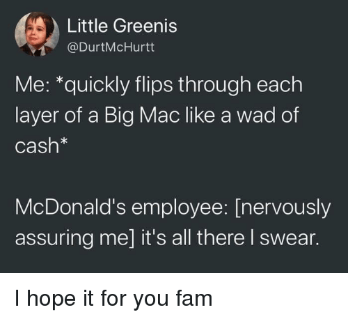 A Big Mac: Little Greenis  @DurtMcHurtt  Me: *quickly flips through each  layer of a Big Mac like a wad of  Cash*  McDonald's employee: [nervously  assuring me] it's all there I swear. I hope it for you fam