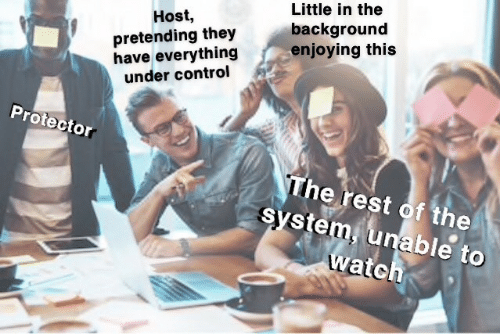 enjoying: Little in the  background  enjoying this  Host,  pretending they  have everything  under control  Protector  The rest of the  system, unable to  watch