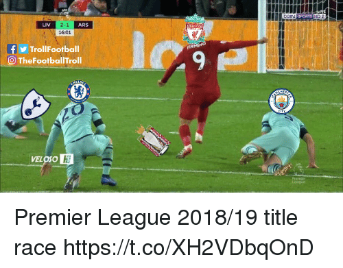 Memes, Premier League, and Liverpool F.C.: LIV  2-1  16:01  ARS  LIVERPOOL  TrollFootball  9  O TheFootballTroll  CHES  VELOSO Premier League 2018/19 title race https://t.co/XH2VDbqOnD