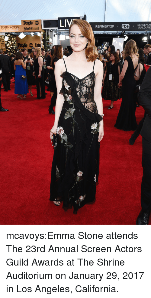 Target, Tumblr, and Emma Stone: LIV  SCREEN A  REFINERY29 .  tbs  SCREEN ACTORS  nterta ent mcavoys:Emma Stone attends The 23rd Annual Screen Actors Guild Awards at The Shrine Auditorium on January 29, 2017 in Los Angeles, California.